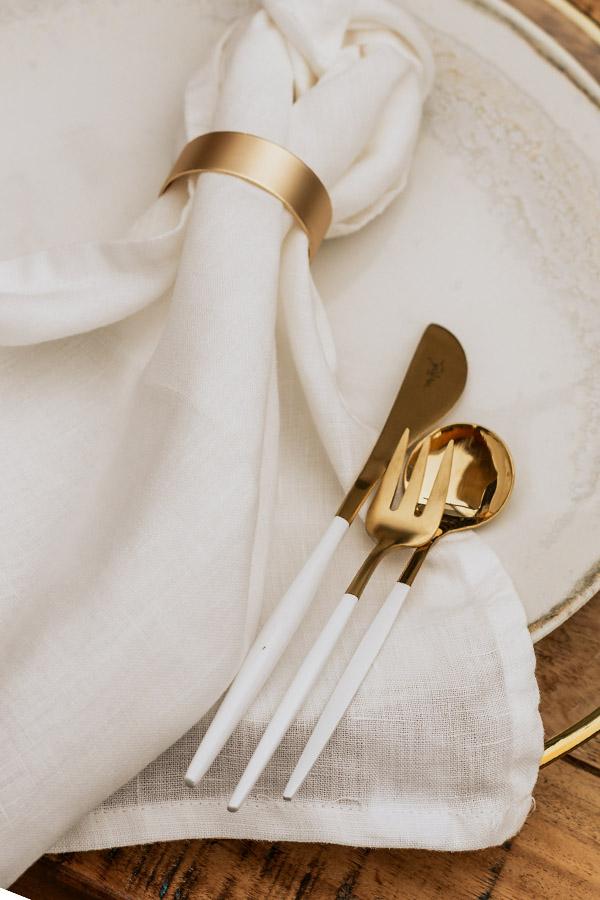 besteck white & gold zum mieten