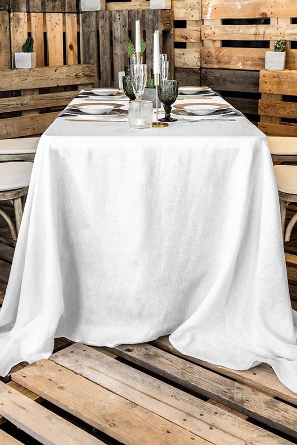 Rechteckige, bodenlange Tischdecke aus Polyester zu mieten in weiß