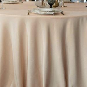 Runde Tischdecke aus Polyester in Latte Macchiato Beige mieten