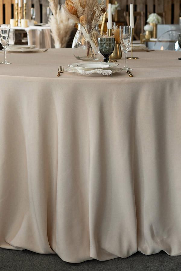 Runde Tischdecke aus Polyester in beige, Durchmesser 300cm