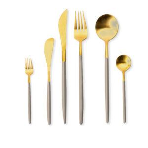 Besteckset Gold & Beige Matt im Online Eventverleih - Mieten mit deutschlandweitem Versand