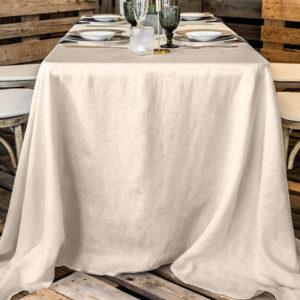Rechteckige, bodenlange Tischdecke aus Polyester zu mieten in beige