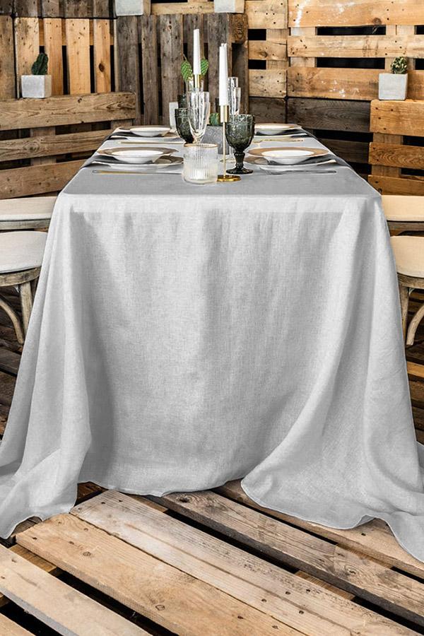 Rechteckige, bodenlange Tischdecke aus Polyester zu mieten in Hellgrau