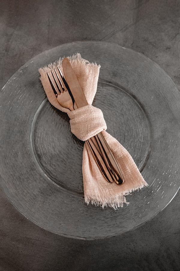 Musselinservietten in Apricot mieten - Auch zum Versand geeignet