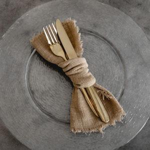 Musselinservietten in Ockergelb mieten - Auch zum Versand geeignet