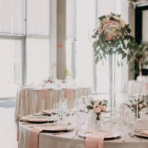 Runde Tischdecke in Satin Champagner online mieten für Hochzeiten & Events