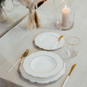 Vintage Tellerset Elegance White / Rose Shine aus Porzellan